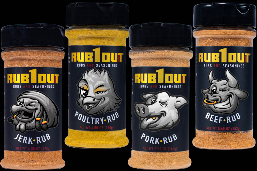 RUB1OUT - Products - Staggered - Black Background